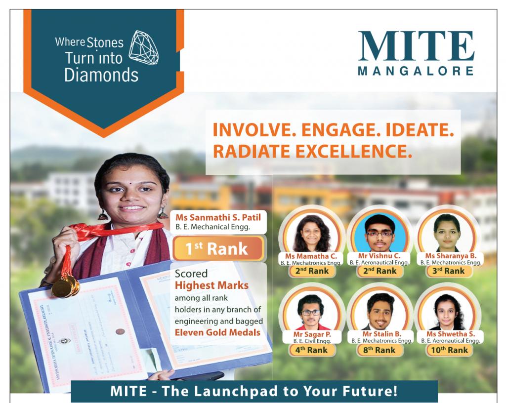 MITE Secures 7 Ranks in 2019 VTU Examination